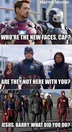 Barry, la has liado. Funny Marvel Memes, Marvel Jokes, Dc Memes, Avengers Memes, Funny Memes, Funny Humour, Funny Dad, Superhero Shows, Superhero Memes