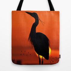 Digital Painting - silhouette Bird Tote Bag by Horseaholic - $22.00