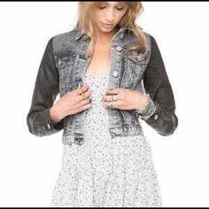 JOHN GALT by BRANDY MELVILLE Jacket NWOT John Galt by Brandy Melville cropped jean jacket. Grey acid wash with waxed sleeves. Brandy Melville Jackets & Coats Jean Jackets