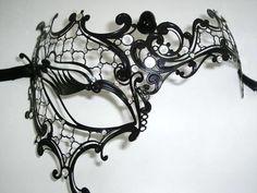 Occhialino Venetian Filigree Masquerade Mask - Nero Black