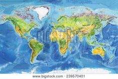 Watercolor geographical map of the world. Physical map of the. Antarctica, South America, Physics, Africa, Watercolor, Stock Photos, World, Creative, Prints