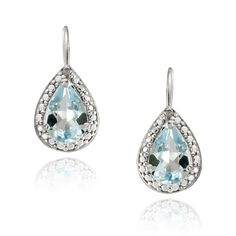 Sterling Silver 6.4 CT. Blue Topaz & Diamond Oval Leverback Earrings