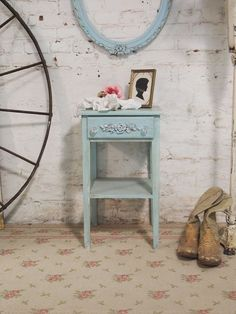 Painted Cottage Chic Shabby Aqua Romantic by paintedcottages, $110.00