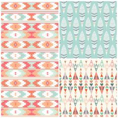 Coral Mint Tribal Crib Bedding Set, Girl Crib Sheet, Crib Skirt, Bumper, Feather Arrow Southwest Nursery on Etsy, $155.00