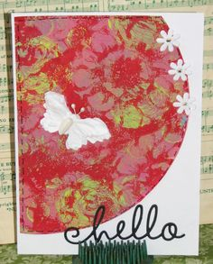 Circle Gelli Plate Monoprint Cards - Hello Flutterby