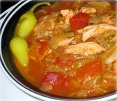 Chicken Cabbage Chili: 1 lb. chicken breast cooked and shredded, 12 c shredded cabbage, 8 c chicken broth, 1 (14oz) can diced tomatoes with green chilies, 1 clove garlic minced, ½ med. onion chopped, 1 ½ t. chili powder, 1 ½ t. cumin, Salt and pepper to taste.
