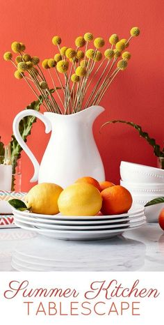 Summer Kitchen Tablescape Inspiration - Embellish your table with this beautiful white pitcher and summer decor!  #tablescapes #centerpieces #kitchendecor #diningroom #homedecor #diningroominspiration #farmhousestyle #fixerupper #affiliate #target