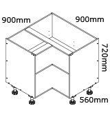 kaboodle flat pack kitchen 900mm corner base cabinet