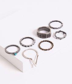 Kit com 6 Anéis com Pedras - Lojas Renner