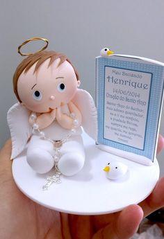 Topo de bolo anjo batizado menino