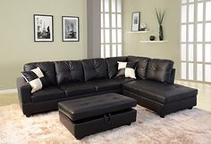 #Beverly Sectional Sofa modern and contemporary with easy to clean faux Leather upholstery. Solid hardwood construction. Free storage ottoman and 2 square pillow...