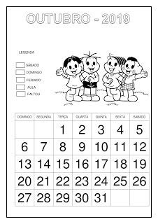 Calendário 2019 - Turma da Mônica Professor, Education, School, Preschool Literacy Activities, Classroom Routines, School Calendar, Kids Calendar, School Psychology, Cursive