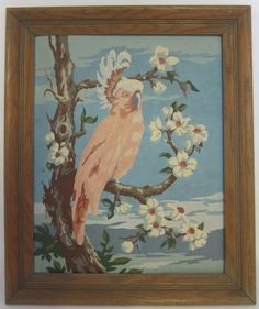 Vintage paint by number of a pink Cockatoo