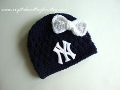 Ready to Ship, New York Yankees Baby Girl Hat, Newborn Hat, Baby Crochet Hat, Baseball Hat, Baby Boy Hat, Photo Prop, Baby Beanie on Etsy, $20.99