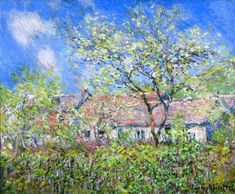 Claude Monet- Springtime at Giverny (Printemps à Giverny), 1886...Oil on canvas...21 3/4 x 26 inches...The Kreeger Museum, Washington D.C.