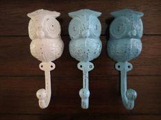 Wall Hook/Set of 3/Owl Hook/Cast Iron Wall by VeritasInspired, $36.99