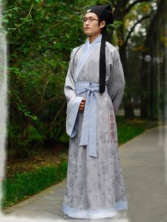 Men's Jacquard silk Gray Straight hem robe Shang Dynasty Hanfu Clothing - USD $ 228.00