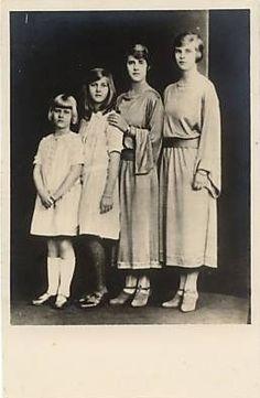 LtoR: Princess Sophia, Princess Cecilia, Princess Theodora, and Princess Margareta of Greece and Denmark
