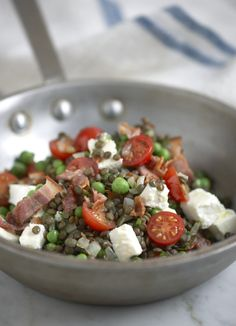 Lentils with peas, feta and bacon
