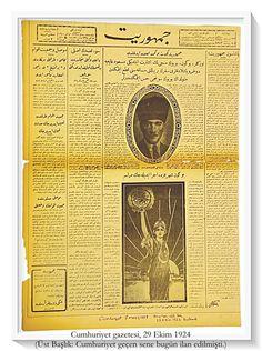 """""""Geçen sene bugün kavuştuğumuz Cumhuriyet 'perisi' karanlıkları yırtarak memleketimize nur-ı ziya getirirken"""". Cumhuriyet, 29 Ekim 1924."""