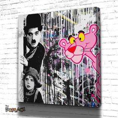 Tableau PANTHERE ROSE CHAPLIN #art #canvas  #charliechaplin #deco #decoration #lapanthererose #Popculture #popart #streetart #tableau #ThePoplace #toile Stencil Graffiti, Graffiti Artwork, Stencil Art, Street Art Graffiti, Cute Canvas Paintings, Canvas Art, Collage Art, Collages, Disney Pop Art