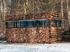 log home with cord wood