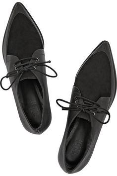 Tibi - Kern Nubuck and Leather Point-Toe Brogues Oxford Brogues, Leather Brogues, Leather Shoes, Oxford Shoes, Black Leather, Wingtip Shoes, Pointy Toe Flats, Toe Shoes, Flat Shoes