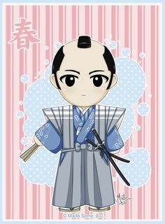 "Edo Spring 2 by Hanami-Mai.deviantart.com on @deviantART - From the artist's comments: ""This samurai from the Edo period (1603-1868) wears hakama trousers and a sleeveless jacket with ""high"" shoulders (kataginu) over his kimono. The pair of swords, katana and wakizashi, is called ""daisho"" - literally ""big and small"", and indicates the status of samurai on this time period. He holds a closed fan, and has a piece of paper on him (a letter from his girlfriend, I guess ;P )."""