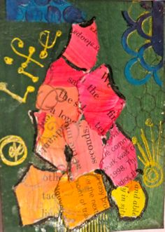 paint  and collage art for ATC by kat gottke