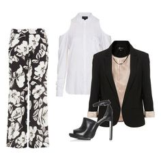 Black Women Inverted Triangle Body   funky suit & pant outfit using black & white ! A blouse with cut out ...