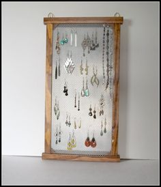 Mesh Earring Holder Wood Stained Wall Mounted