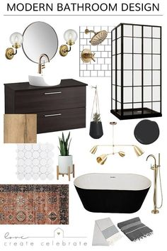 One Room Challenge {Week One} - Modern Bathroom Design - Love Create Celebrate - - Beautiful Modern Bathroom Design plans! Love the black and white, the mixed metallics, and the brass accents in this modern bathroom design. Modern Bathroom Decor, Simple Bathroom, Modern Room, Bathroom Interior Design, Home Interior, Modern Interior Design, Dyi Bathroom, Bathroom Black, Modern Bathrooms