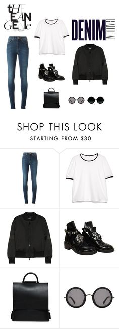 """""""Jean Genie"""" by rachael6527 ❤ liked on Polyvore featuring Acne Studios, MANGO, DKNY, Balenciaga, Linda Farrow, Moscot, Alima, Leather, jeans and DenimStyle"""
