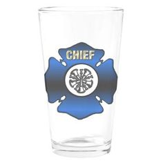 Fire Chief Gold Maltese Cross Drinking Glass