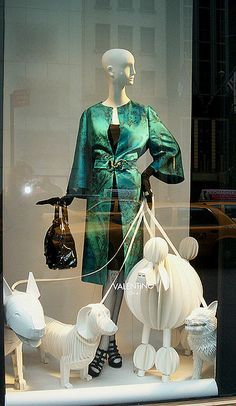 """I guess Bergdorf Goodman believes in recycling, because these are the cute dogs from """"Dogshow.""""   Window display at Bergdorf Goodman."""