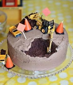 This made me laugh! Construction Cake: A. I could make this cake without screwing it up. Actually, I have made that cake before (without the tractors) and just thought it was a screw up, B. Noah would LOVE me. Cake Cookies, Cupcake Cakes, Cupcake Toppers, Bolo Original, Cakes For Boys, Boy Cakes, Cute Cakes, Creative Cakes, Let Them Eat Cake