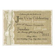 Vintage Lace and Burlap Bridal Shower Invitation
