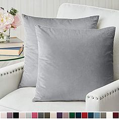 Amazon.com: The Connecticut Home Company Luxurious Velvet Throw Pillow Cases, Set of 2 Decorative Case Sets, Square Pillow Covers, Soft Pillowcases for Living Room, Bedroom, Couch, Sofa, Bed, 18x18, Light Gray: Home & Kitchen Square Pillow Covers, 20x20 Pillow Covers, Decorative Pillow Cases, Grey Pillow Cases, Throw Pillow Cases, Pillow Room, Bedroom Couch, Couch Sofa, Best Pillow