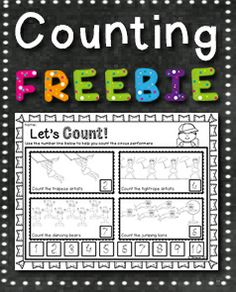 FREE RESOURCE:  review and practise number formation as well as one to one correspondence with this free circus themed download.  Suitable for preschool.