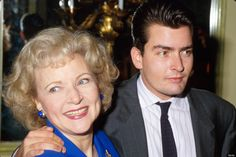 Charlie Sheen and Betty White in 1987.