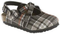 Birkis clogs Mili from Birko-Flor in Scottish Check Black with a narrow insole