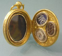 Regency Seed Pearl Mourning Gold Locket with Lover's eye miniature, woven hair, and initials.