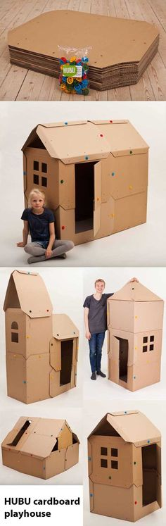 5 easy variations of the DIY cardboard playhouse from HUBU. Cardboard Playhouse, Build A Playhouse, Diy Cardboard, Play Houses, Playroom, Make It Simple, Children, Kids, Construction