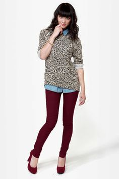 #lulusholiday perfect jeans to go with the leopard shoes! Also burgundy is sooo in right now