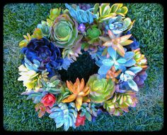 Omg!!! I want!!!  Hey, I found this really awesome Etsy listing at https://www.etsy.com/listing/199705554/multicolored-succulent-wreath