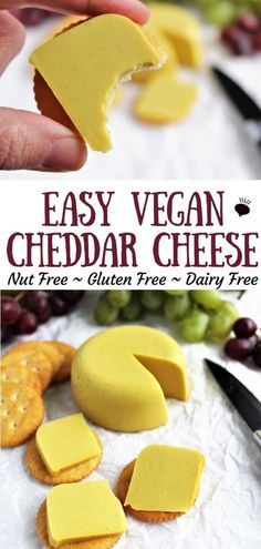Easy Vegan Cheddar Cheese (without nuts)! - An easy vegan cheddar cheese recipe made with plant based milk like soy milk and a few simple ingre - Dairy Free Snacks, Dairy Free Cheese, Healthy Vegan Snacks, Dairy Free Recipes, Easy Vegan Snack, Gluten Free, Cheap Recipes, Vegetarian Meals, Eating Healthy