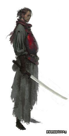 Xu Jiun the Banished, Monk/Blood Hunter Fantasy Character Design, Character Concept, Character Inspiration, Character Art, Concept Art, Fantasy Warrior, Fantasy Rpg, Medieval Fantasy, Ronin Samurai