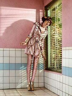 Sparkle pants!!  Milla Jovovich by Simon Upton | Harpers Bazaar Singapore April 2010