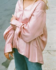 Vintage blush metallic silk long sleeve with belled hem and sleeve, beautiful relaxed oversized fit, size fits most, one pen tip size mark, absolute favorite find $64 + shipping SOLD