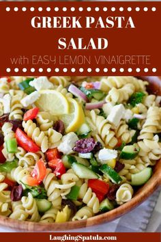 This big flavored Greek Pasta Salad comes with a 2 minute Super Easy Greek Inspired Vinaigrette. Packed with bold flavors and crunchy veggies with a sprinkle of chunky feta cheese it's the perfect side dish to most anything! Bhg Recipes, Cookbook Recipes, Lunch Recipes, Easy Dinner Recipes, Pasta Recipes, Healthy Recipes, Delicious Recipes, Healthy Food, Recipies